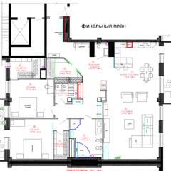 Планировка трехкомнатной квартиры: Стены в . Автор – Студия интерьера Дениса Серова