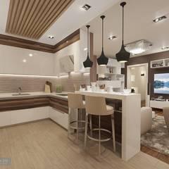 Дизайн-проект четырехкомнатной квартиры 140 кв. м в современном стиле : Гостиная в . Автор – Студия интерьера Дениса Серова, Модерн