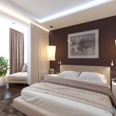 Спальня 17 кв. м в современном стиле: Спальни в . Автор – Студия интерьера Дениса Серова