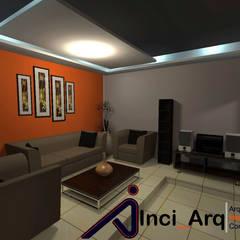 Diseño Interno de Sala Acondicionada para Vivienda Unifamiliar: Salas / recibidores de estilo  por Inci_Arq, Moderno