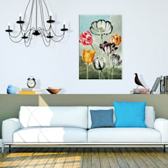 Leinwandbild Thornton - Tulpen: modern  von K&L Wall Art,Modern Kunststoff Braun