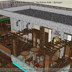 SERPİCİ's Mimarlık ve İç Mimarlık Architecture and INTERIOR DESIGN – SERPİCİ's MİMARLIK ve İÇ MİMARLIK – S's Desıgn – KAFE BAR RESTAURANT PROJELERİ:  tarz Yeme & İçme