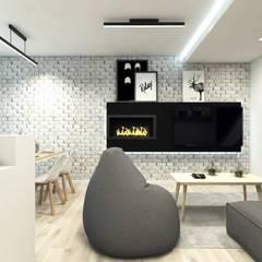 Salon w bieli i szarości: styl , w kategorii Salon zaprojektowany przez MONOstudio