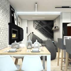 Salon w minimalistycznym stylu: styl , w kategorii Salon zaprojektowany przez MONOstudio