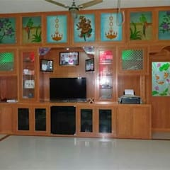 balabharathi pvc tv showcase design in hosur and dharumapuri: modern  by balabharathi pvc interior design,Modern Wood-Plastic Composite