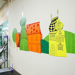 """Рисунки на стенах и навигация торгового центра """"Купец"""": Торговые центры в . Автор – 33dodo"""