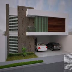 FACHADA CON BALCÓN LATERAL: Casas de estilo  por HHRG ARQUITECTOS