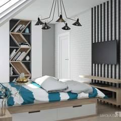 Loftowa sypialnia: styl , w kategorii Sypialnia zaprojektowany przez MIKOŁAJSKAstudio
