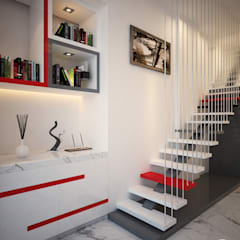 Office Interior:  Corridor, hallway & stairs  by spacefusion,