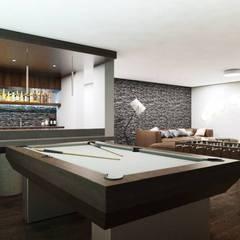 Bilard z piłkarzykami: styl , w kategorii Pokój multimedialny zaprojektowany przez MONOstudio