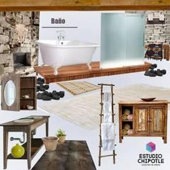 Rancho LC: Baños de estilo  por Estudio Chipotle, Rústico Madera maciza Multicolor