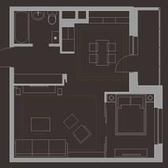 Квартира холостяка 49 м/кв: Стены в . Автор – metrixdesign