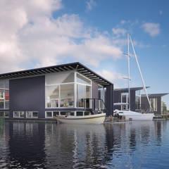 Drie watervilla's in Dorpshaven, Aalsmeer:  Huizen door agNOVA architecten