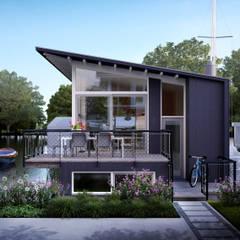 Watervilla's in Dorpshaven, Aalsmeer:  Terras door agNOVA architecten