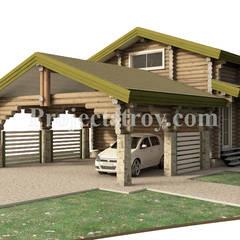 Проект навеса для двух автомобилей из бревна с хозяйственной пристройкой и комнатой на втором этаже: Гаражи в . Автор – Projectstroy