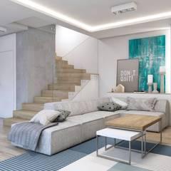 Projekt domu jednorodzinnego 10: styl , w kategorii Salon zaprojektowany przez BAGUA Pracownia Architektury Wnętrz