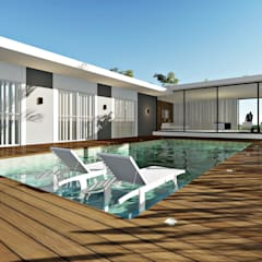 Casa Contemporânea : Piscinas minimalistas por Lopes e Theisen Arquitetura
