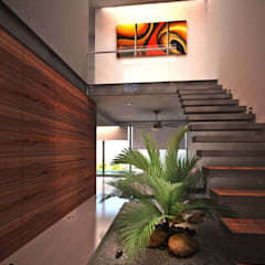 الممر والمدخل تنفيذ Art.chitecture, Taller de Arquitectura e Interiorismo 📍 Cancún, México. , حداثي سيراميك