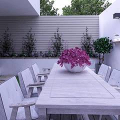 jardin area de comer: Jardines de estilo moderno por planeacion y proyectos constructivos s.a de c.v.