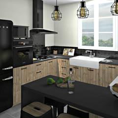 Cuisine bois brut et noir: Cuisine de style de style Rustique par MJ Intérieurs