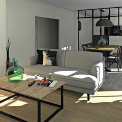 Perspective depuis le salon: Salon de style de style Industriel par MJ Intérieurs