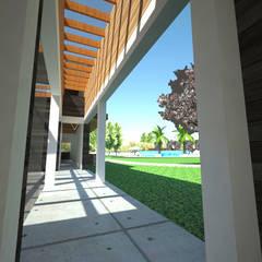 Centro de eventos, Codigua, Melipilla.: Pasillos y hall de entrada de estilo  por Toledo estudio Arquitectos