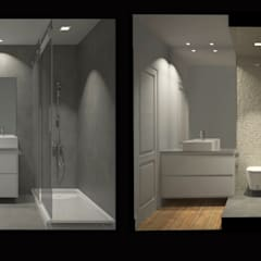 Reabilitação e Remodelação de apartamento / Apartment remodel and renew: Casas de banho  por Linhas Simples