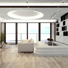逸瓏灣 Mayfair By The Sea :  Living room by Much Creative Communication Limited