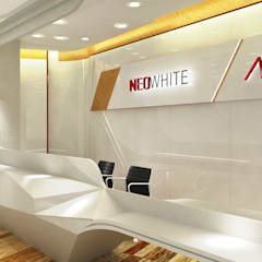 Neo White - Green Office:  Study/office by Much Creative Communication Limited