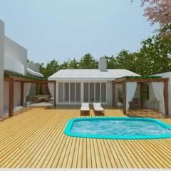 Espaço gourmet e piscina: Garagens e edículas clássicas por Cíntia Schirmer | Estúdio de Arquitetura e Urbanismo