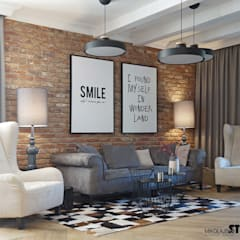 salon rustykalny-projektowanie wnętrz: styl , w kategorii Salon zaprojektowany przez MIKOŁAJSKAstudio