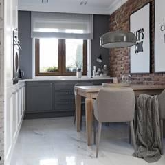 kuchnia polączona z salonem-projekt wnętrz: styl , w kategorii Kuchnia zaprojektowany przez MIKOŁAJSKAstudio