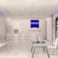 Recepción - Optica Zeiss de México: Oficinas y tiendas de estilo  por Unikco Arquitectos