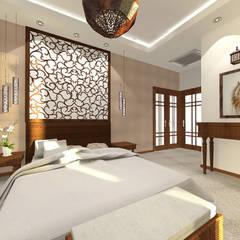sypialnia z łazienką w stylu tajskim: styl , w kategorii Sypialnia zaprojektowany przez Manekineko