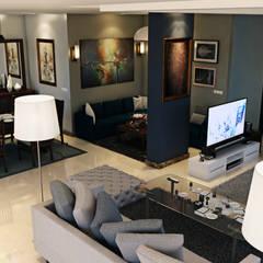 Modern Reception :  غرفة المعيشة تنفيذ Boly Designs, حداثي