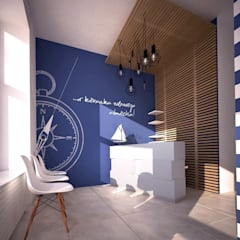 Poczekalnia Bosmańska Dent: styl , w kategorii Kliniki zaprojektowany przez STUDIO 180°