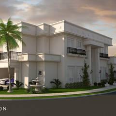 projeto casa sobrado neoclassico terreno esquina fachada classica 3 suites telhado plano: Casas  por Caio Pelisson - Arquitetura e Design