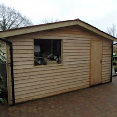 Pitched Roof Garden Office with Storage:  Garage/shed by Miniature Manors Ltd