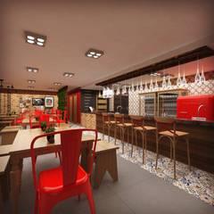 Restaurantes de estilo  por Cíntia Schirmer | arquiteta e urbanista, Industrial Hierro/Acero
