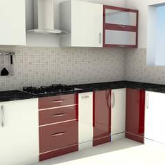 Modular L Shape Kitchen without Loft:  Kitchen by ServiceBELL Solutions PVT Ltd
