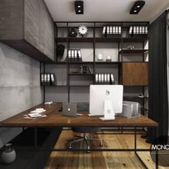 Biuro w industrialnym klimacie: styl , w kategorii Domowe biuro i gabinet zaprojektowany przez MONOstudio