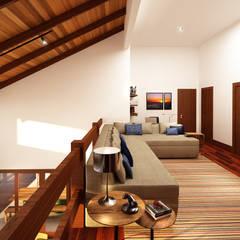 Mezanino/ Sala Íntima: Janelas   por Ana Carolina Cardoso Arquitetura e Design