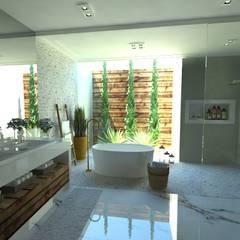 Casa de Banho do Casal: Banheiros  por Gláucia Brito Interiores