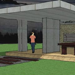 PROYECTO PARA QUINCHO (Espacio Semi-Cubierto Exterior): Terrazas de estilo  por AUREA Estudio de Diseño