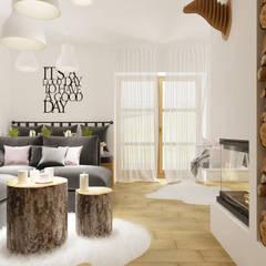 Dom weekendowy w Czorsztynie: styl , w kategorii Salon zaprojektowany przez PRØJEKTYW | Architektura Wnętrz & Design