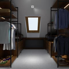Projekt wnętrz domu jednorodzinnego w Pleśnej Nowoczesna garderoba od PRØJEKTYW | Architektura Wnętrz & Design Nowoczesny