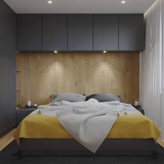 Projekt mieszkania. Kraków Nowe Czyżyny: styl , w kategorii Sypialnia zaprojektowany przez PRØJEKTYW | Architektura Wnętrz & Design