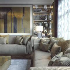 living room+dining:  غرفة المعيشة تنفيذ m.frahat, حداثي