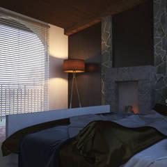 Recamara-Chimenea: Recámaras de estilo rural por V Arquitectura