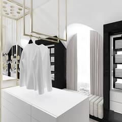 HIGH LIFE | PROJEKT SYPIALNI Z ŁAZIENKĄ I GARDEROBĄ: styl , w kategorii Garderoba zaprojektowany przez ARTDESIGN architektura wnętrz